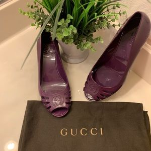 Purple Gucci shoes wedges!